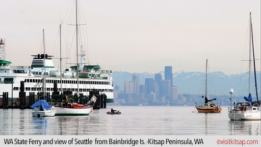 WA State Ferry and view of Seattle from Bainbridge Island