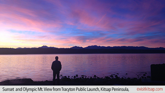 Sunset and Olympic Mt. View from Tracyton Public Launch